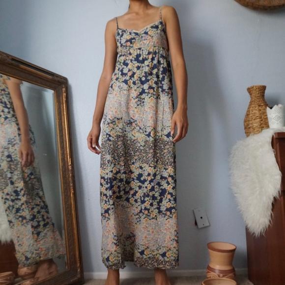 H&M Dresses & Skirts - SOLD H&M Floral Maxi Minimal Strap Dress Size 4